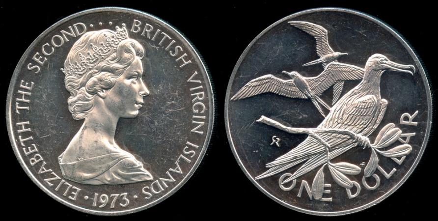 World Coins - 1973 FM British Virgin Islands 1 Dollar - Elizabeth II - Cameo Proof