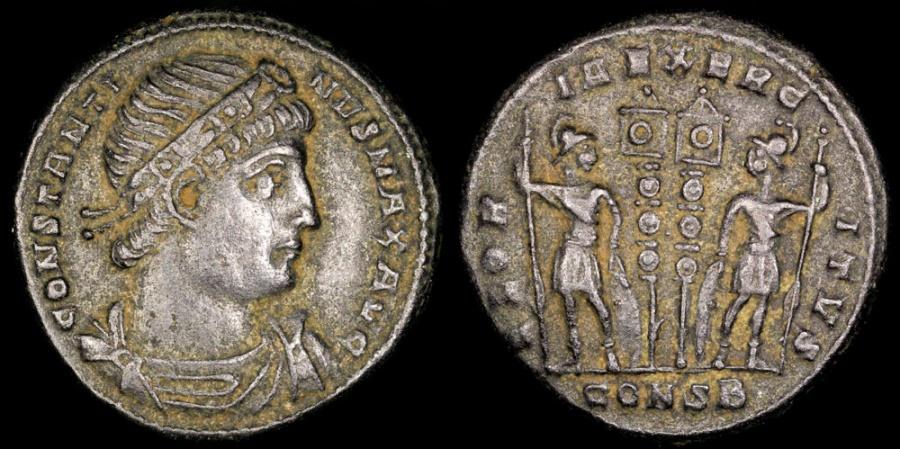 Ancient Coins - Constantine I Ae3 - GLORIA EXERCITVS - Constantinople Mint