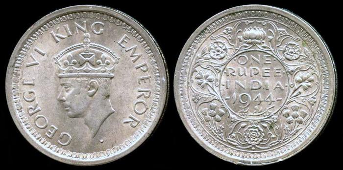 World Coins - 1944 (b) India (British) 1 Rupee BU