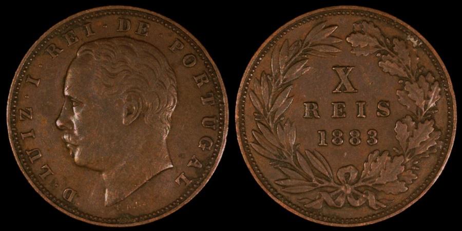 World Coins - 1883 Portugal 10 Reis  - Luiz I - XF