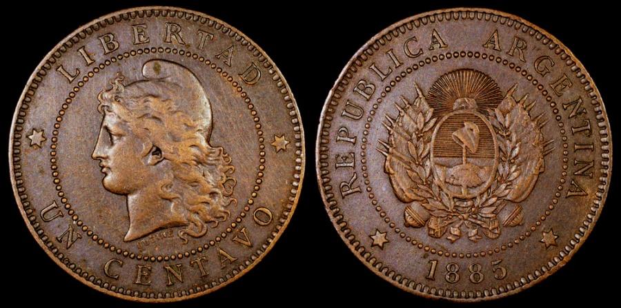 World Coins - 1885 Argentina 1 Centavos AU