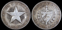 World Coins - 1915 Cuba 20 Centavos - High Relief Star - Coarse Reeding - XF (Scarce Variety)