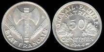 World Coins - 1944 B France 50 Centimes BU