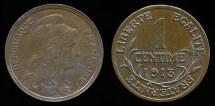World Coins - 1913 France 1 Centime UNC