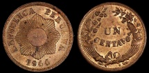 World Coins - 1944  Peru 1 Centavo - Republic Coinage - UNC