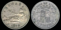 World Coins - 1870(73) Spain 2 Pesetas XF