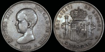 World Coins - 1888 (88) MP-M Spain 5 Pesetas - Alfonso XIII - XF