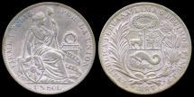World Coins - 1897 JF Peru 1 Sol AU