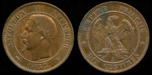 World Coins - 1853 A France 10 Centimes UNC