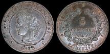 World Coins - 1896 A France 5 Centimes AU
