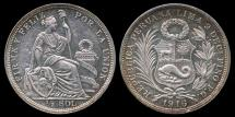 World Coins - 1916 FG Peru 1/2 Sol UNC