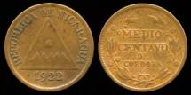 World Coins - 1922 Nicaragua 1/2 Centavo XF