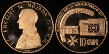 World Coins - 1981 Order of Malta 10 Grani - International Year of Disabled Persons - Bronze Commemorative (tiny mintage of only 3,000 pieces) - Cameo Proof