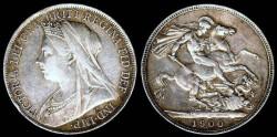 World Coins - 1900 Great Britain Crown - Victoria - XF