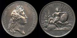 World Coins - 1666  France - King Louis XIV: French Colony Established, English Expulsion from the Island of Saint Christopher by Jean Mauger.