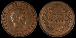 World Coins - 1892 Portugal 20 Reis - Carlos I - AU