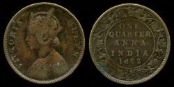 World Coins - 1862 India (British) 1/4 Anna F