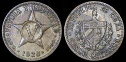 World Coins - 1920 Cuba 5 Centavos - 1st Republic - XF