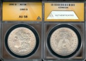 Us Coins - 1880 Morgan Dollar ANACS AU58