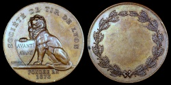 World Coins - 1873  France - Founding of the Lyon Shooting Society by Jean Vernon