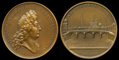 World Coins - 1685  France - Louis XIV - The Royal Bridge by Michel Molart and Joseph Roettiers