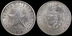 World Coins - 1915 Cuba 40 Centavo - 1st Republic - Low Relief Star - XF