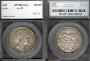 World Coins - 1871 Bavaria Thaler SEGS AU50