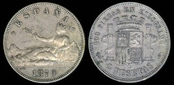 World Coins - 1870(73) Spain 2 Pesetas XF