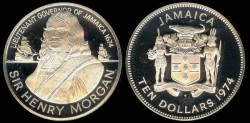 World Coins - 1974 FM Jamaica 10 Dollar - Sir Henry Morga Silver Commemorative Proof - Only 15,000 Struck