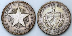 World Coins - 1915 Cuba 20 Centavos - High Relief Star / Fine Reeding - XF Silver