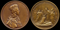 World Coins - 1722  France - Louis XV - Coronation of the King at Rheims Cathedral by Pierre-Simon-Benjamin Duvivier