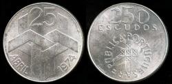 World Coins - 1976 Portugal 250 Escudo - 1974 Revolution - Silver Commemorative - BU