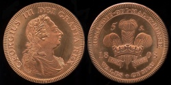 World Coins - 1808 Wales 5 Shillings, George III - Medallic Issue (2007), Copper Proof
