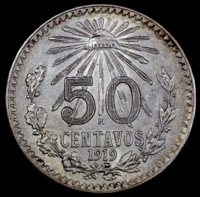 World Coins - 1919 Mo Mexico 50 Centavo - AU