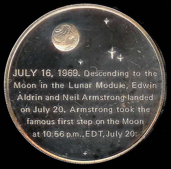 1969 Apollo 11 Lunar Landing Commemorative Medal - Silver