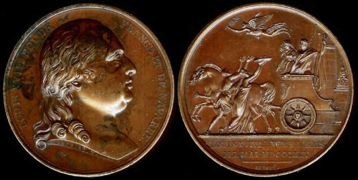 World Coins - 1814 Louis XVIII Enters Paris