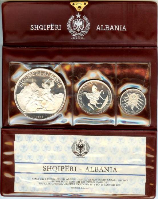 1968 Albania 3 Coin Silver Proof Set
