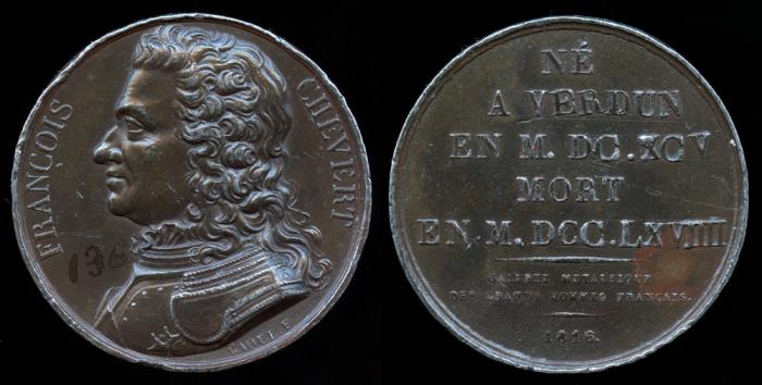 World Coins - 1816 France - Francois Chevert (French General) by Armand-Auguste Caque