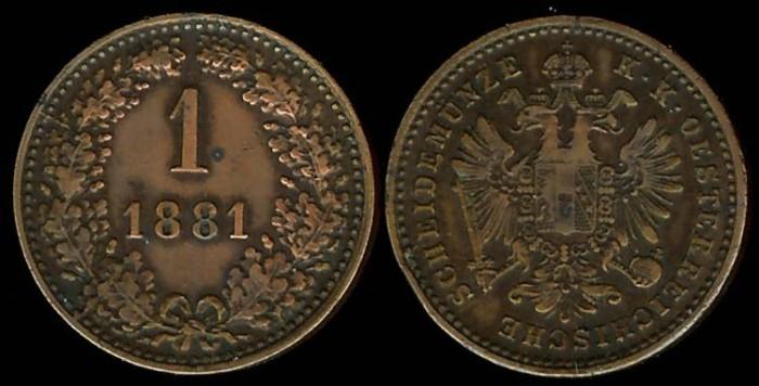 World Coins - 1881 Austria 1 Kreuzer XF
