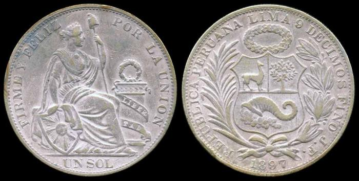 World Coins - 1897 JF Peru 1 Sol AU