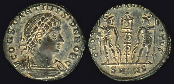 Ancient Coins - Constantine II Ae3 - GLORIA EXCERCITVS - Antioch Mint