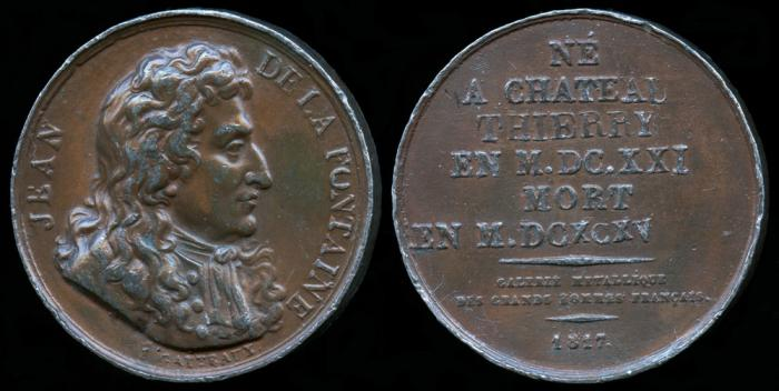 World Coins - 1817 France - Jean de La Fontaine (French fabulist and poet of the 17th century) by Jacques-Édouard Gatteaux
