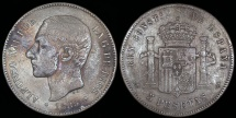 World Coins - 1885 (85) MS-M Spain 5 Pesetas - Alfonso XII - F
