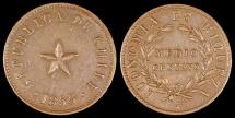 World Coins - 1853 Chile 1/2 Centavo AU