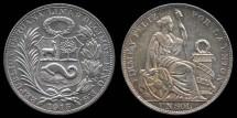 World Coins - 1915 FG Peru 1 Sol BU