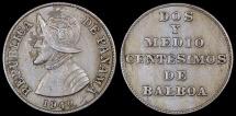 "World Coins - 1940 Panama 2-1//2 Centesimos - ""Dos Y Medios"" - Vasco Núñez de Balboa - AU"