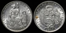 World Coins - 1907 FG Peru 1/5 Sol BU