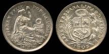 World Coins - 1903/893 JF Peru 1/2 Dinero BU