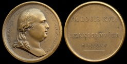 World Coins - 1815  France - King Louis XVIII's Reinterment of Louis XVI (his brother) by Jean-Bertrand Andrieu