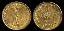 World Coins - 1974 Bhutan 20 Chetrum - FAO - BU